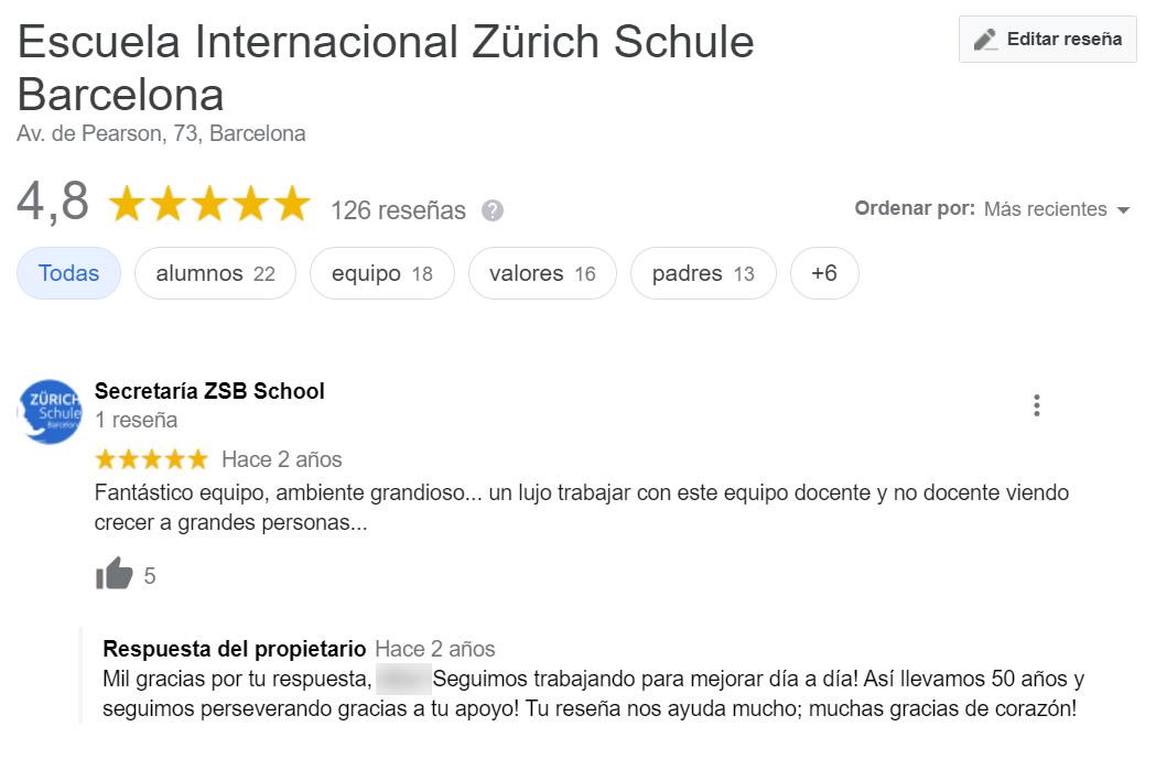 Opiniones de escuela suiza en Barcelona